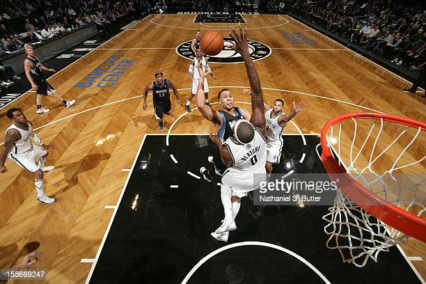 Brandon Roy of the Minnesota Timberwolves shoots against Andray Blatche of the Brooklyn Nets on November 5 2012 at the Barclays Center in Brooklyn...