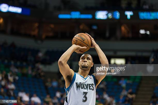 Brandon Roy of the Minnesota Timberwolves shoots the ball during the preseason game between the of the Minnesota Timberwolves and the Maccabi Haifa...