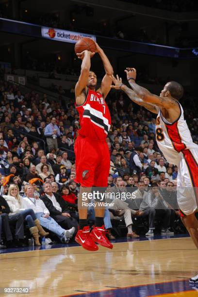Brandon Roy of the Portland Trail Blazers attempts a jump shoot against the Golden State Warriors on November 20 2009 at Oracle Arena in Oakland...