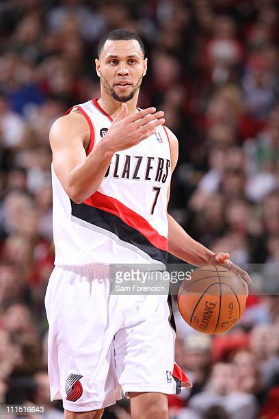 Brandon Roy of the Portland Trail Blazers calls a play against the Dallas Mavericks during a game on April 3 2011 at the Rose Garden Arena in...