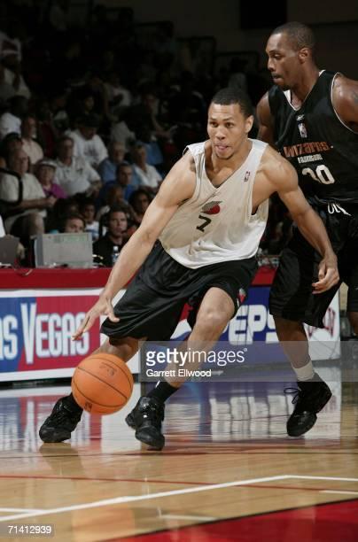 Brandon Roy of the Portland Trail Blazers drives against Antoine Jordan of the Washington Wizards during the 2006 Toshiba Vegas Summer League July 10...