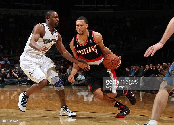 Brandon Roy of the Portland Trail Blazers drives against Gilbert Arenas of the Washington Wizards at the Verizon Center on December 3 2010 in...