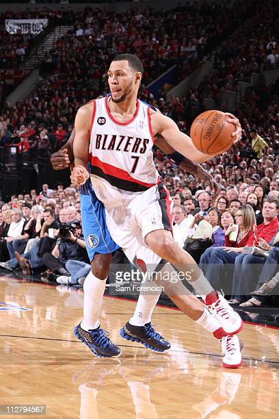 Brandon Roy of the Portland Trail Blazers drives against the Dallas Mavericks in Game Three of the Western Conference Quaterfinals in the 2011 NBA...