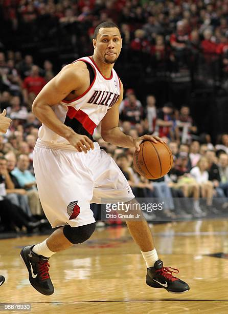 Brandon Roy of the Portland Trail Blazers drives against the Phoenix Suns during Game Four of the Western Conference Quarterfinals of the NBA...