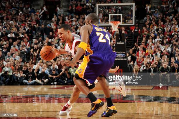 Brandon Roy of the Portland Trail Blazers drives the ball against Kobe Bryant of the Los Angeles Lakers during the game on January 8 2010 at the Rose...