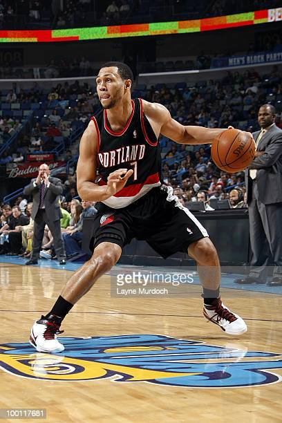 Brandon Roy of the Portland Trail Blazers drives the ball against the New Orleans Hornets during the game at New Orleans Arena on March 27 2010 in...