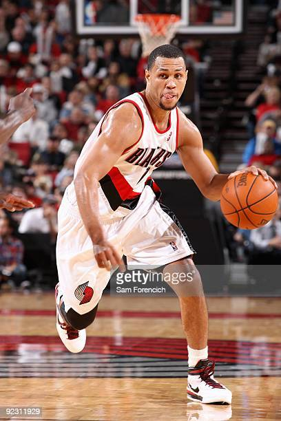 Brandon Roy of the Portland Trail Blazers drives the ball up court during the preseason game against the Utah Jazz on October 20 2009 at the Rose...