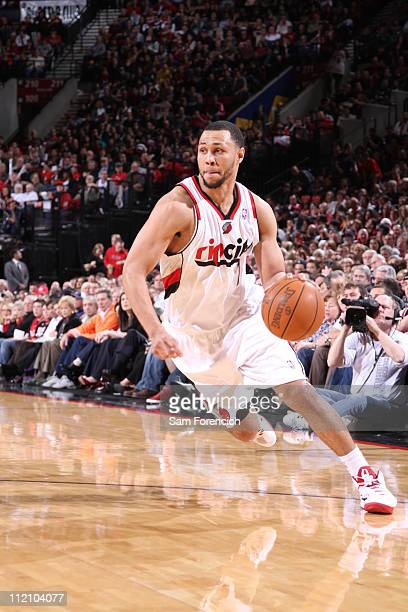 Brandon Roy of the Portland Trail Blazers drives to the basket against the Memphis Grizzlies on April 12 2011 at the Rose Garden Arena in Portland...