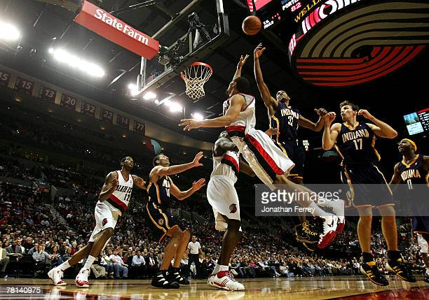 Brandon Roy of the Portland Trail Blazers drives to the hoop against the Indiana Pacers at the Rose Garden on November 28 2007 in Portland Oregon...