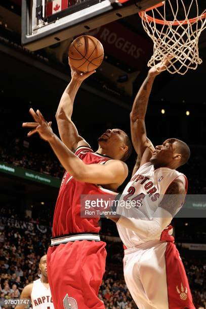 Brandon Roy of the Portland Trail Blazers goes to the basket against Sonny Weems of the Toronto Raptors during the game on February 24 2010 at Air...