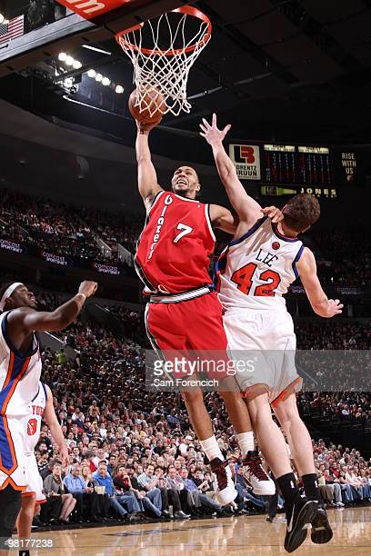 Brandon Roy of the Portland Trail Blazers goes up for a dunk against David Lee of the New York Knicks during a game on March 31 2010 at the Rose...