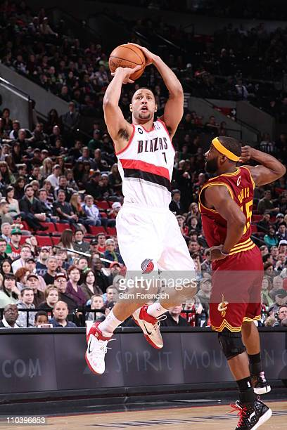 Brandon Roy of the Portland Trail Blazers goes up for a shot against Baron Davis of the Cleveland Cavaliers during a game on March 17 2011 at the...