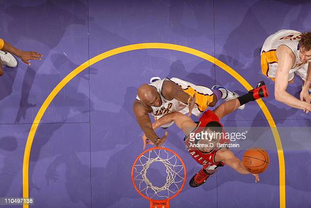 Brandon Roy of the Portland Trail Blazers goes up for a shot against the Los Angeles Lakers at Staples Center on March 20 2011 in Los Angeles...