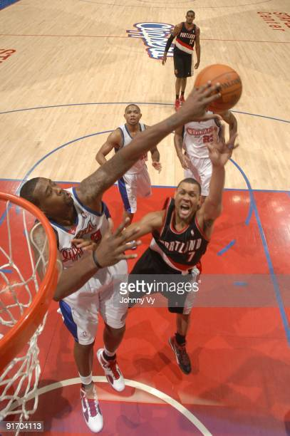 Brandon Roy of the Portland Trail Blazers has his shot blocked by DeAndre Jordan of the Los Angeles Clippers at Staples Center on October 9 2009 in...