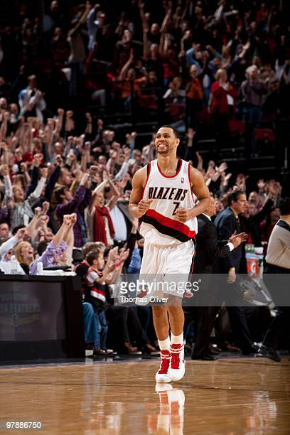 Brandon Roy of the Portland Trail Blazers heads back down court after his game winning shot during a game against the Washington Wizards on March 19...