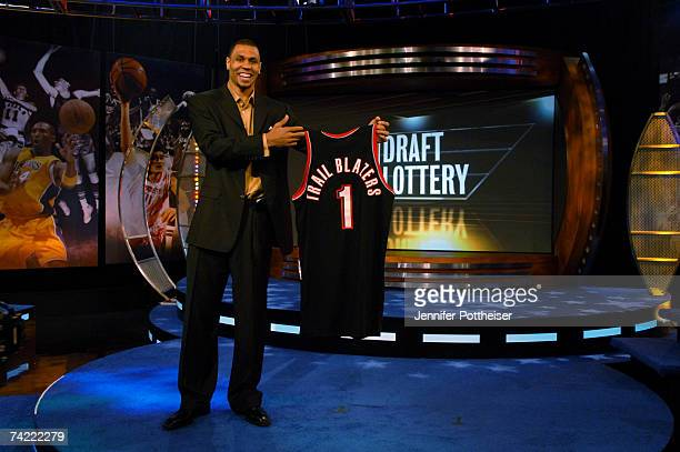 Brandon Roy of the Portland Trail Blazers holds up a Jersey after winning the first pick of the NBA Draft lottery during the 2007 NBA Draft Lottery...