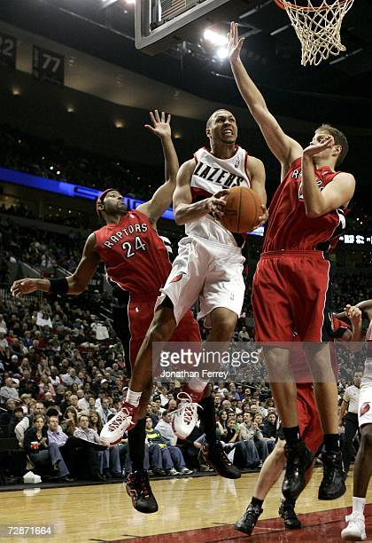 Brandon Roy of the Portland Trail Blazers lays up the ball against the Toronto Raptors on December 22 2006 at the Rose Garden Arena in Portland...