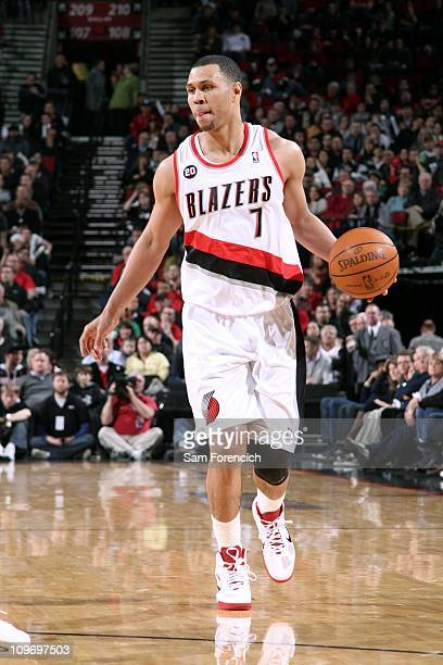 Brandon Roy of the Portland Trail Blazers looks for an opening against the Denver Nuggets during a game on February 25 2011 at the Rose Garden Arena...