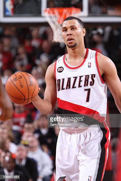 Brandon Roy of the Portland Trail Blazers looks on during the game against the Toronto Raptors during a game on November 6 2010 at the Rose Garden...