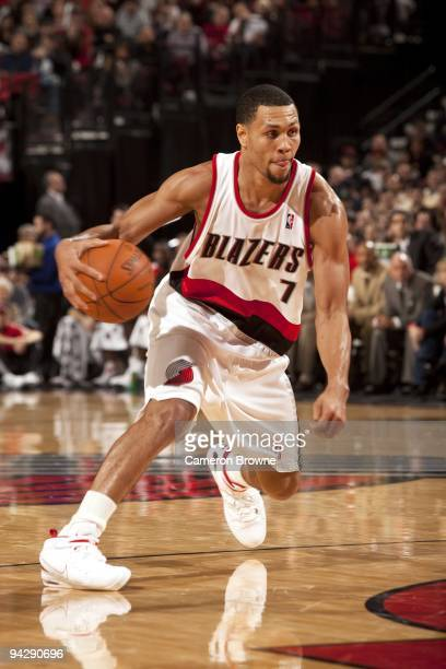 Brandon Roy of the Portland Trail Blazers makes a move during the game against the New Jersey Nets at The Rose Garden on November 25 2009 in Portland...