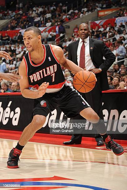 Brandon Roy of the Portland Trail Blazers moves the ball against the Los Angeles Clippers at Staples Center on October 27 2010 in Los Angeles...