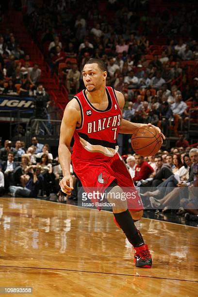 Brandon Roy of the Portland Trail Blazers moves the ball against the Miami Heat on March 8 2011 at American Airlines Arena in Miami Florida NOTE TO...