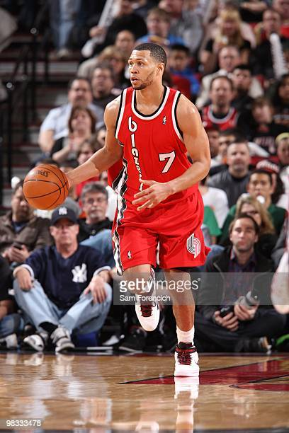 Brandon Roy of the Portland Trail Blazers moves the ball up court during the game against the New York Knicks at The Rose Garden on March 31 2010 in...