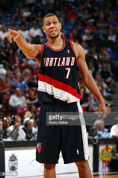 Brandon Roy of the Portland Trail Blazers points during the preseason game against the Sacramento Kings at Arco Arena on October 7 2009 in Sacramento...
