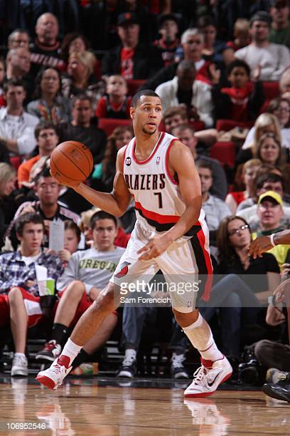 Brandon Roy of the Portland Trail Blazers protects the ball during the game against the Toronto Raptors during a game on November 6 2010 at the Rose...