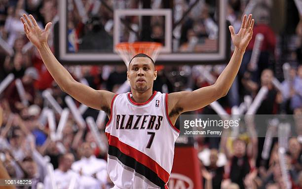 Brandon Roy of the Portland Trail Blazers reacts to a shot against the Phoenix Suns on October 26 2010 at the Rose Garden in Portland Oregon NOTE TO...