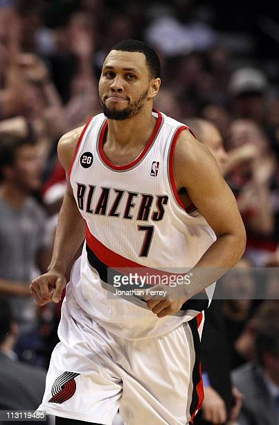 Brandon Roy of the Portland Trail Blazers runs down court after making a shot to overcome a 23 point deficit to defeat the Dallas Mavericks 8482 in...