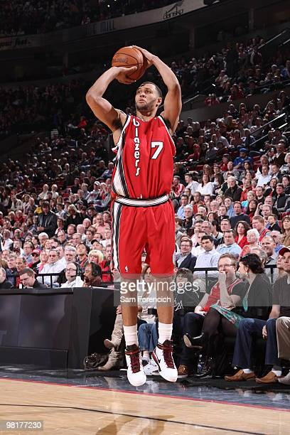 Brandon Roy of the Portland Trail Blazers shoots a threepointer during a game against the New York Knicks on March 31 2010 at the Rose Garden Arena...