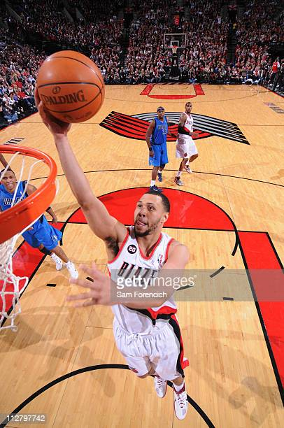 Brandon Roy of the Portland Trail Blazers shoots against the Dallas Mavericks in Game Three of the Western Conference Quaterfinals in the 2011 NBA...