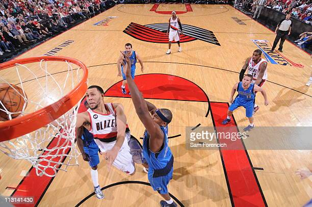 Brandon Roy of the Portland Trail Blazers shoots against the Dallas Mavericks in Game Four of the Western Conference Quarterfinals in the 2011 NBA...