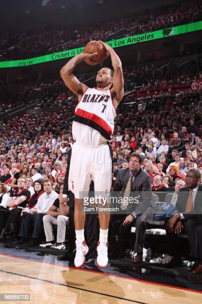 Brandon Roy of the Portland Trail Blazers shoots against the Phoenix Suns in Game Six of the Western Conference Quarterfinals during the 2010 NBA...