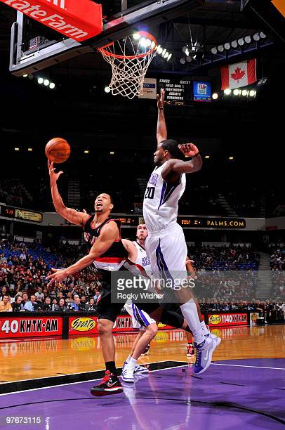 Brandon Roy of the Portland Trail Blazers shoots the ball over Donte Greene of the Sacramento Kings on March 12 2010 at ARCO Arena in Sacramento...