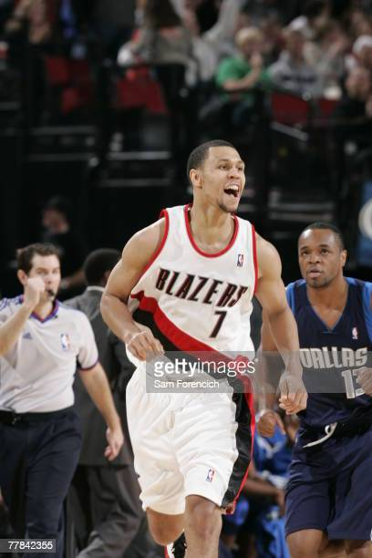 Brandon Roy of the Portland Trail Blazers shouts with excitiment during a game against the Dallas Mavericks during a game at the Rose Garden Arena...