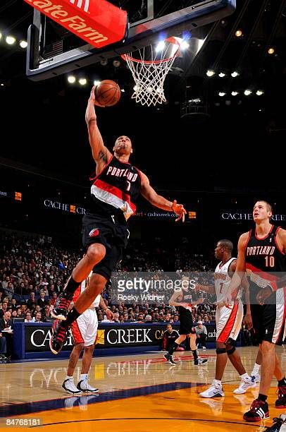 Brandon Roy of the Portland Trail Blazers takes the ball to the basket against the Golden State Warriors on February 12 2009 at Oracle Arena in...