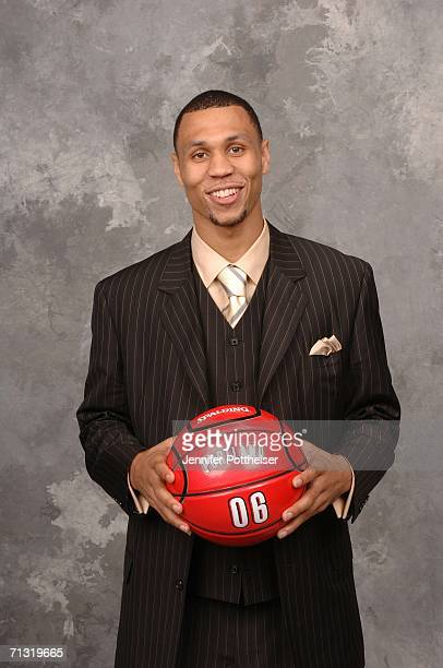 Brandon Roy of the Portland Trail Blazers the number six overall pick poses for a portrait backstage during the 2006 NBA Draft on June 28 2006 in The...
