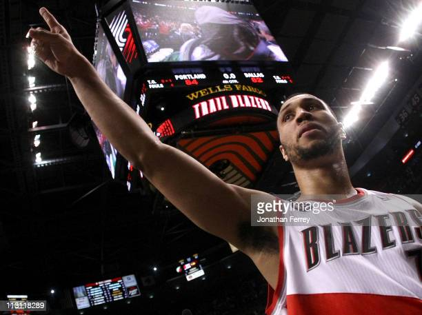 Brandon Roy of the Portland Trail Blazers walks off the court after overcoming a 23 point deficit to defeat the Dallas Mavericks 8482 in Game Four of...