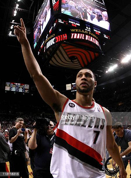 Brandon Roy of the Portland Trail Blazers walks off the court after overcoming a 23 point deficit to defeat the the Dallas Mavericks 8482 in Game...