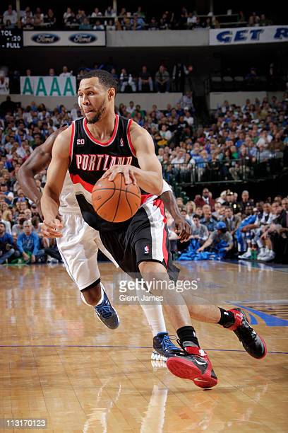 Brandon Roy of the Portland Trailblazers drives against the Dallas Mavericks in Game Five of the Western Conference Quarterfinals on April 25 2011 in...