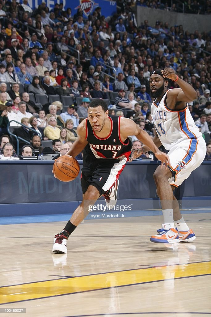 Brandon Roy #7 of the Portland Trailblazers drives to the basket against James Harden #13 of the Oklahoma City Thunder on March 28, 2010 at the Ford Center in Oklahoma City, Oklahoma.