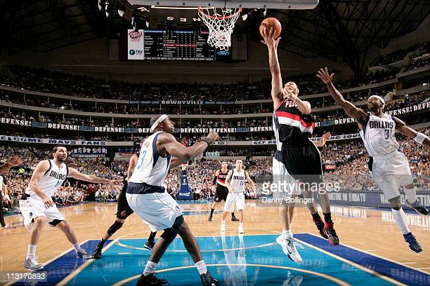 Brandon Roy of the Portland Trailblazers shoots against the Dallas Mavericks in Game Five of the Western Conference Quarterfinals on April 25 2011 in...