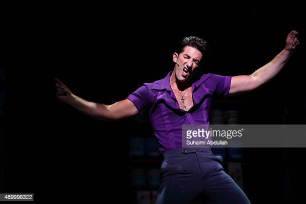 Brandon Rubendall who plays the character Tony Manero in the Saturday Night Fever The Musical performs on stage during the gala premiere at the...