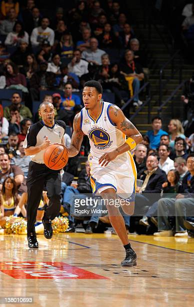 Brandon Rush of the Golden State Warriors advances the ball during a game against the Portland Trail Blazers on January 25 2012 at Oracle Arena in...