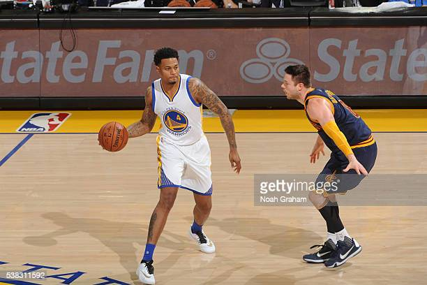 Brandon Rush of the Golden State Warriors defends the ball against the Cleveland Cavaliers during Game Two of the 2016 NBA Finals on June 5 2016 at...