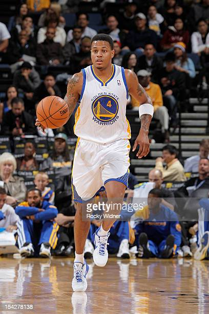 Brandon Rush of the Golden State Warriors dribbles the ball against the Maccabi Haifa on October 11 2012 at Oracle Arena in Oakland California NOTE...