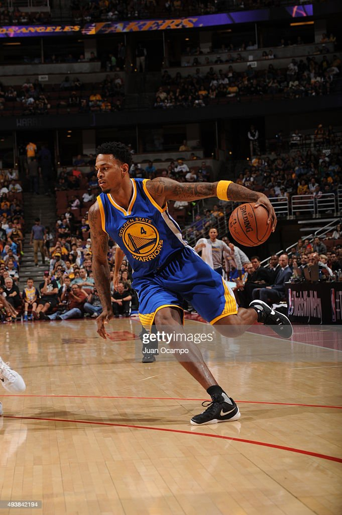 Brandon Rush #4 of the Golden State Warriors drives to the basket against the Los Angeles Lakers during a preseason game on October 22, 2015 at Honda Center in Anaheim, California.