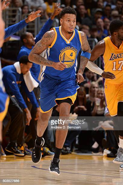 Brandon Rush of the Golden State Warriors drives to the basket against the Los Angeles Lakers during the game on January 5 2016 at STAPLES Center in...
